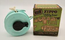Vintage Columbus Plastic Products Aqua Zippo Utility Clothes Line w Original Box