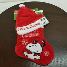 Peanuts Snoopy Baby's 1st Christmas Stocking & Hat Red White Soft