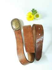 Eddie Bauer Brown Leather Tooled Belt With Brass Buckle S/M
