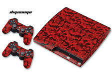 Skin Decal Wrap For PS3 Slim PlayStation 3  Console + Controller Digicamo-Red