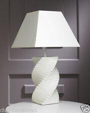 New Ceramic Cream Twisted SRO Table Lamp with Cream Shade - 60cm Height