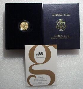 2008-W $5 BURNISHED 1/10 OZ AMERICAN GOLD EAGLE RARE DATE LOW MINTAGE W/BOX&COA