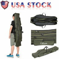 2020 Folding 150cm Fishing Rod Carrier Canvas Pole Tools Tackle Storage Bag US
