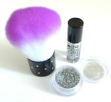 3-PIECE SET GLITTER DUST FIX GEL EXCESS POWDER REMOVER CLEANER  BRUSH NAIL ART*