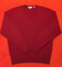 Peter Millar Burgundy V Neck Men's Sweater 100% Pure Cashmere Sz M Made In China