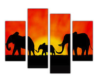 AFRICAN ELEPHANT FAMILY SUNSET FRAMED CANVAS PICTURES WALL ART PRINTS 4 PIECE