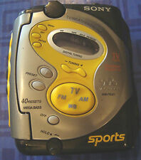 Sony Sport Walkman WM-FS221 FM/AM Digital Radio Cassette Clip On 40 Presets