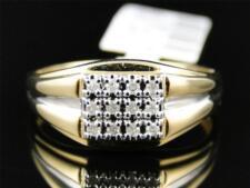 10K Mens Yellow Gold Round Diamond 9.5MM Pinky Fashion Wedding Band Ring 1/8 Ct