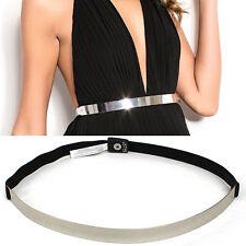 Women Bling Gold Silver Mirror Skinny Metal Plate Elastic Stretch Belts Waist