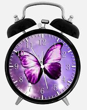 """Purple Butterfly Alarm Desk Clock 3.75"""" Room Decor Y02 Nice for Gifts wake up"""