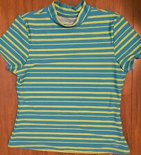 Girls blue yellow stripe rash guard swimsuit size 14 SPF 50 Lands's End Kids