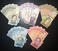 Venezuela Banknotes (25 Banknote Lot) Bolivare/ New Unc/World Paper Money/Bundle