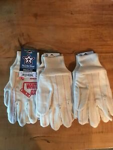 North Star 1014 White Ox Work Gloves size Medium made in the USA 3 Pair