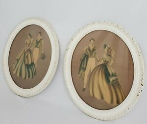 Vintage Victorian Oval Carved Wood Picture Frame Shabby Pair Turner