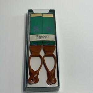 VTG Dooney & Bourke Braces/Suspenders Leather/Green with Purple $ Signs/Money