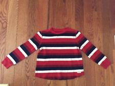 EUC GAP Boys SZ S or 6/7 Red, White Blue Stripe Cotton LS Waffle Shiet