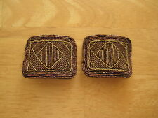 Vintage French Steel Bead Evergrip Shoe Buckles Copper Colors