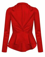 New Women's Blazer Collared One Button Suit Jacket  Ladies Peplum Slim Fit Coats