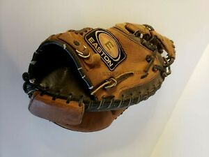 Easton Catchers Mitt Left handed Tanned Leather Nat 22 Wrist Guard pre owned