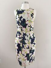 New Jcrew White Green Blue Floral Scuba Fitted Zipper Back Pencil Dress Size 2