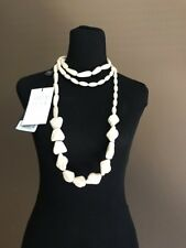 Weekend by Max Mara Palmeti Long Plastic Necklace Ivory NWT