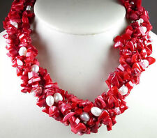 ARTISAN 5 Strand Coral Necklace with Pearls Elegant Jewelry