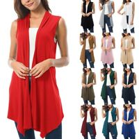 Women's Sleeveless Draped Open Front Cardigan Vest Asymmetric Hem Women Blouse