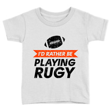 Rather Be Playing Rugby Kids T-Shirt Funny Cool Rugby Lover Top Gift Present