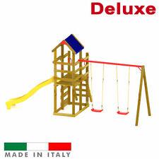 Altalena due sedili liberi Torre Luna Doppia con tetto Scivolo + Arrampicata