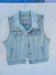 OLD NAVY Women's Size Medium ~ Light Blue Factory Distressed Denim Vest - DOVER