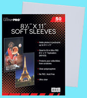 """50 ULTRA PRO 8.5""""x11"""" PREMIUM SOFT SLEEVES Fit Topload Photo Clear Poly 8-1/2x11"""