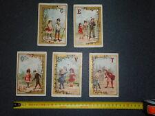 XIX ème siècle 5 cartes en carton ( pas chromo ) pour  école  :QUILLES CROQUET