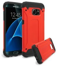 For Samsung Galaxy S7 Edge Hybrid Rugged Slim Black Silicone Cover Red Case