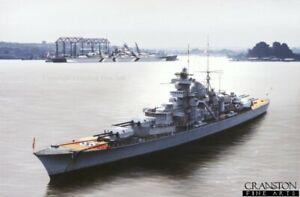 WW2 signed  German Naval art print Kriegsmarine scharnhorst Bismarck Battleship