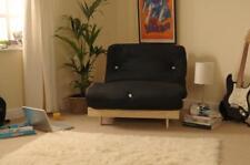 Single 2ft6 (75cm) Luxury Futon Wooden Frame Sofa Bed Mattress in 11 Colours Black COM148426FSETBLA