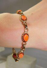"Coral Peach Glass Scarab Style Link Gold 6 1/2"" Vintage Bracelet 1f 63"