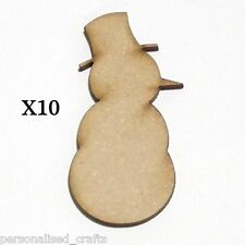 X10 Wooden MDF Christmas Decorations Snowman Embellishments Plaque & Card Making