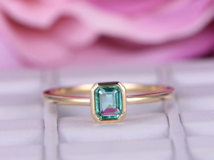 1ct Green Emerald Cut Engagement Ring Bezel Set Solitaire 14k SOLID Yellow Gold