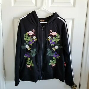 ROWLEY LOVE KIT Fitness Jacket Cynthia Rowley Black Embroidered Floral Flamingo