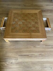 Vintage Low Short Leg Short Footed Checker Chess Game Table with side drawers