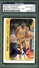 Lakers Magic Johnson Authentic Signed Card 1986 Fleer Sticker #7 PSA/DNA Slabbed