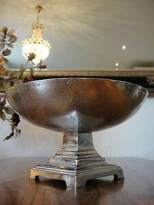 Moderne Obstschale 35 cm Prunkschale Designer Schale Obst Silber Luxus Edel Alu