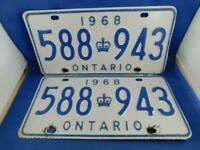 ONTARIO LICENSE PLATE 1968 LOT PAIR SET 588 943 VINTAGE CANADA CROWN CAR SHOW