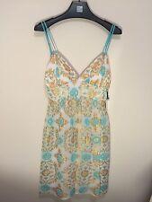 Milly of New York Dress Party Short Aqua Blue Gold Metallic White Silk $400
