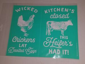 """Chalk Couture Transfer """"Wicked Chicken"""" 8 1/2"""" x 11""""  New"""