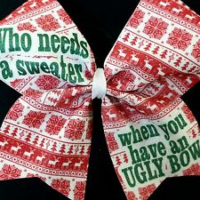 Cheer Bow - Ugly Sweater Christmas Glitter   - Hair Bows