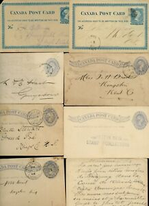Eight stationery cards 1800's various cancels, Canada