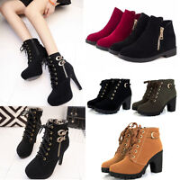 Women Buckle Lace Up Platform High Heels Short Ankle Martin Boots Fashion Shoes
