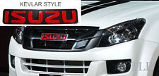 LOGO RED EMBLEMS BADGE DECAL PLATE KEVLAR FRONT GRILLE ISUZU D-MAX DMAX 12 13 14