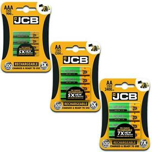 JCB Rechargeable Batteries AA & AAA NiMH PreCharged 650 1200 900 2400mAh
